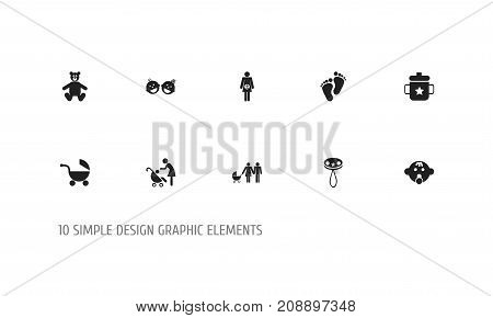Set Of 10 Editable Child Icons. Includes Symbols Such As Pregnancy, Goplet, Stroller And More