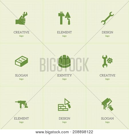 Set Of 9 Editable Structure Icons. Includes Symbols Such As Hands , Scrub, Brick