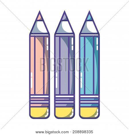 pencils colors school tool object design vector illustration