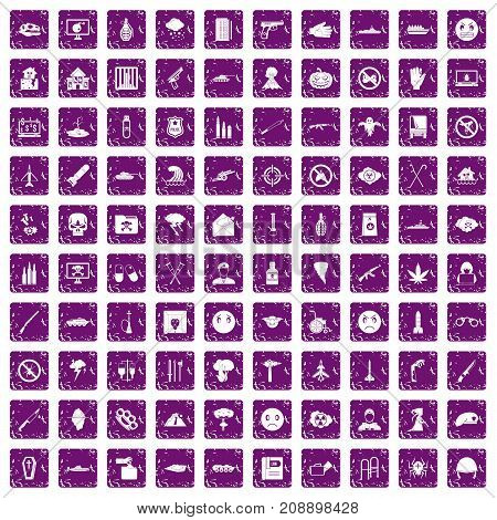 100 oppression icons set in grunge style purple color isolated on white background vector illustration