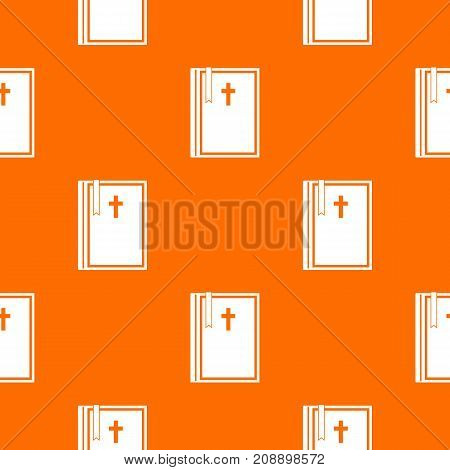 Bible pattern repeat seamless in orange color for any design. Vector geometric illustration