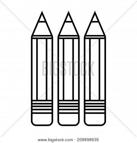 line pencils school tool object design vector illustration