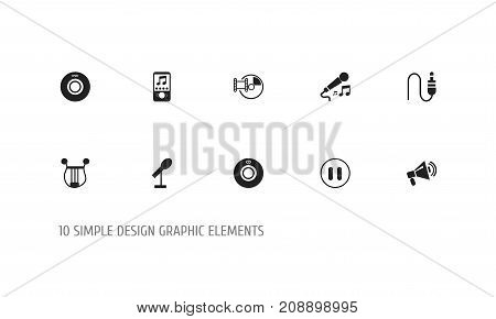 Set Of 10 Editable Song Icons. Includes Symbols Such As Digital Versatile Disc, Music Phone, Compact Disk And More