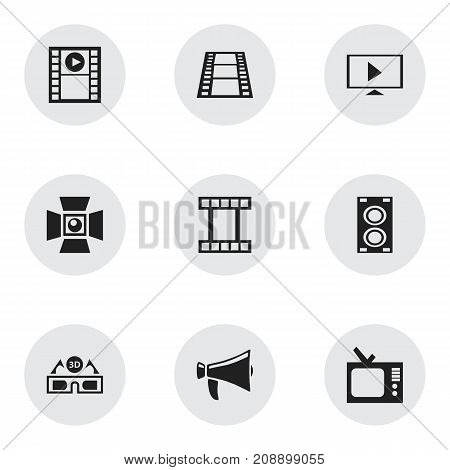 Set Of 9 Editable Filming Icons. Includes Symbols Such As Retro Tv, Spotlight, Filmstrip And More