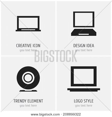 Set Of 4 Editable Notebook Icons. Includes Symbols Such As Laptop, Display, Portable Computer And More