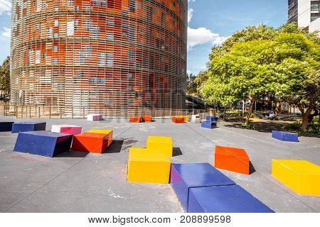 BARCELONA, SPAIN - August 16, 2017: Fragment view on the famous Agbar tower designed by French architect Jean Nouvel in Barcelona