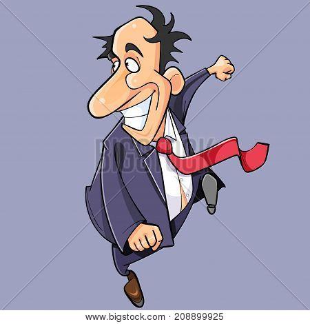 cartoon happy man in suit and tie fun runs