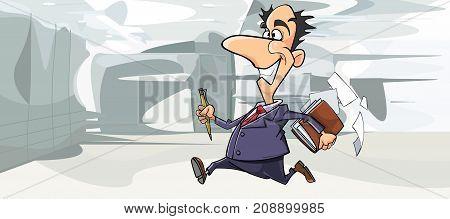 cartoon happy man in suit running in the office