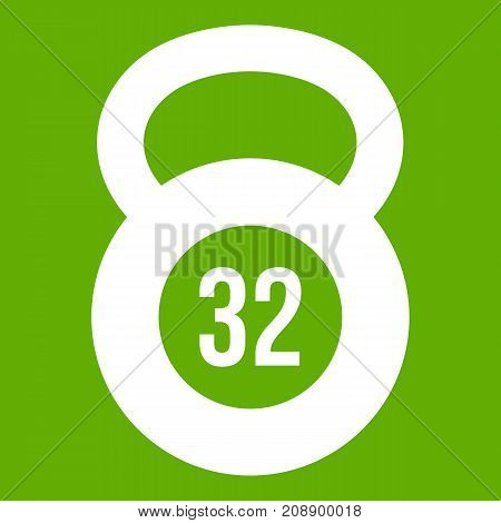 Kettlebell 32 kg icon white isolated on green background. Vector illustration