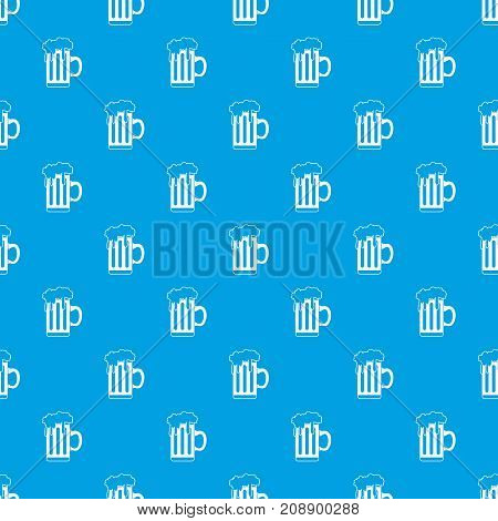Mug with beer pattern repeat seamless in blue color for any design. Vector geometric illustration