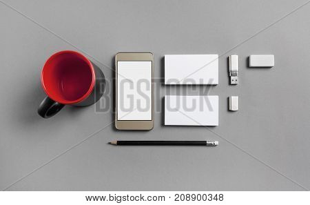 Blank stationery and gadgets template for placing your design. Mockup for branding identity. Top view.