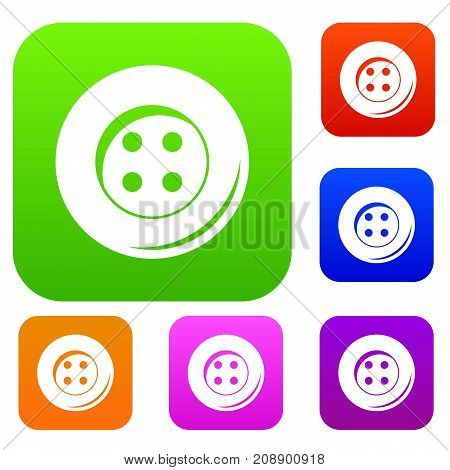 Button for sewing set icon color in flat style isolated on white. Collection sings vector illustration