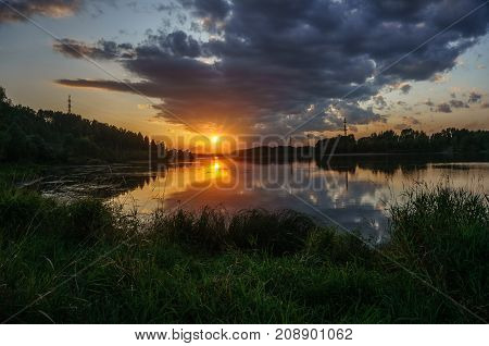 Sunset on the Tom River in Western Siberia