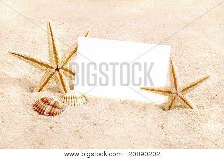 Beach Sand and Seastars with card