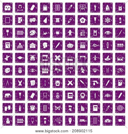 100 paint school icons set in grunge style purple color isolated on white background vector illustration