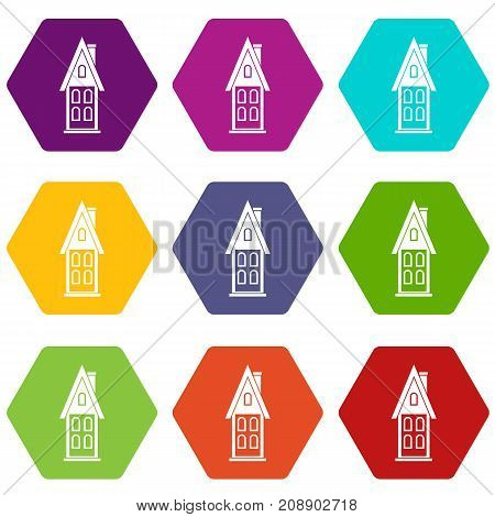 Two storey house with attic icon set many color hexahedron isolated on white vector illustration