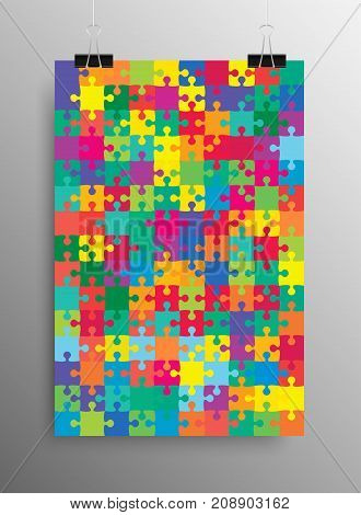 Vertical Poster Banner A4 Sized Vector Paper Clips. Color Puzzle Pieces Arranged in a Rectangle - JigSaw - Vector Illustration. Jigsaw Puzzle Blank Template or Cutting.