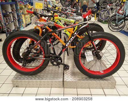 Rimini Italy - June 22 2017: Fat Bikes in the sporting goods store