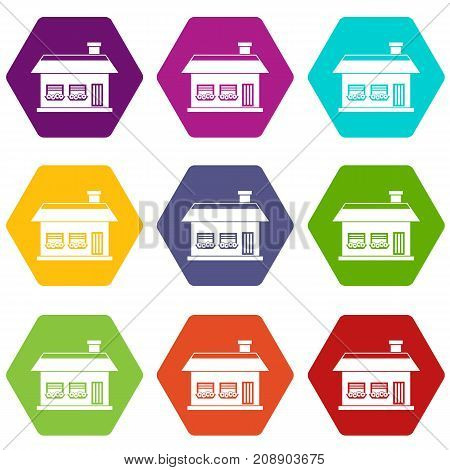 One storey house with two windows icon set many color hexahedron isolated on white vector illustration