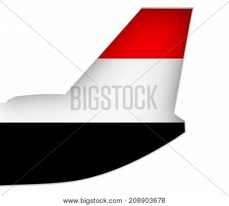 An airplane tail. Yemen flag as backdrop. 3D rendering