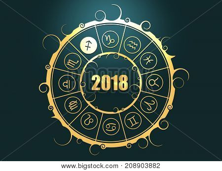 Astrological symbols in the circle. The Archer sign. Celebration card template. Zodiac circle with 2018 new year number. 3D rendering