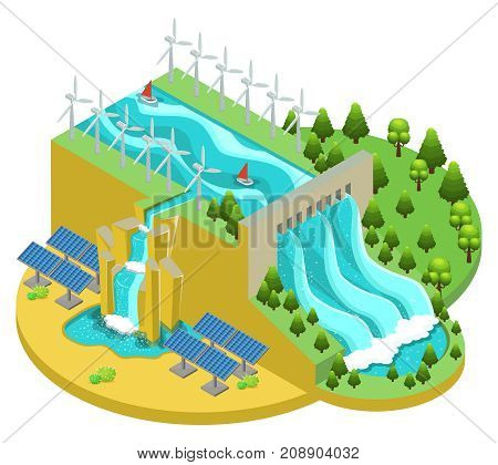 Isometric alternative energy sources concept with hydroelectric power station windmills and solar panels vector illustration
