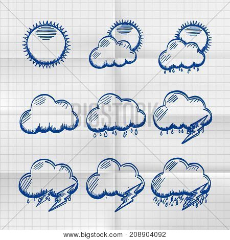 Exercise book collection clouds icon, sketch cloud and sun, weather phenomenon, template design element
