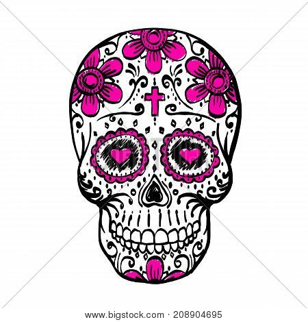 Day Of The Dead Skull sketch. Draw skull sugar flower. Skull tattoo. Vector illustration