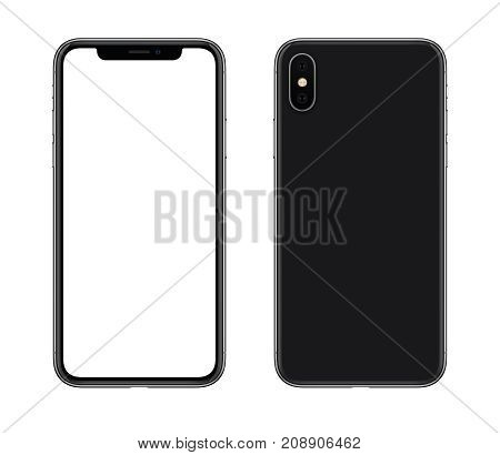 Smartphone mockup front and back side similar to iPhone X. New modern black frameless smartphone mockup with blank white screen and back side with camera. Isolated on white background.