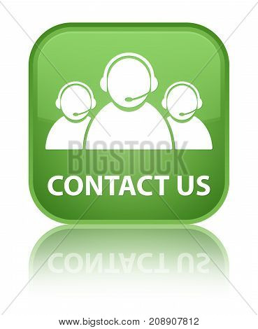 Contact Us (customer Care Team Icon) Special Soft Green Square Button