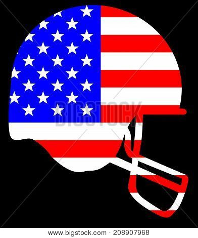 Outline sketch silhouette of a football helmet in blue set on a Stars and Stripes background