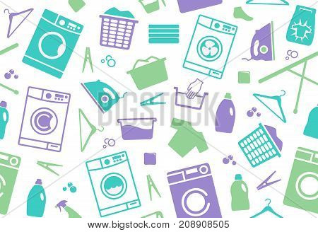 Seamless background on a theme of washing and care of clothes