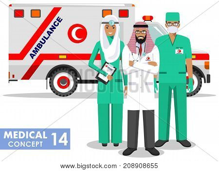 Detailed illustration muslim car ambulance and paramedic man, emergency doctor, nurse in a flat style on a white background. Vector illustration.