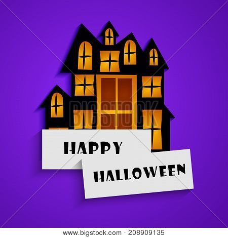 illustration of house with happy Halloween text on the occasion of Halloween Celebration