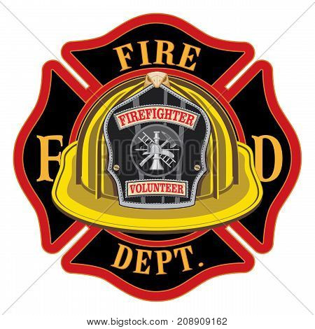 Fire Department Cross Volunteer Yellow Helmet is an illustration of a fireman or firefighter Maltese cross emblem with a yellow volunteer firefighter helmet and badge in the foreground. Great for t-shirts, flyers, and websites.