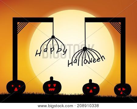 illustration of pumpkins and moon with happy Halloween text on the occasion of Halloween Celebration
