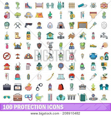 100 protection icons set in cartoon style for any design vector illustration