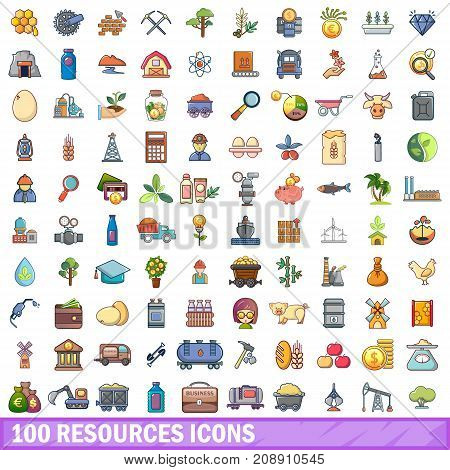 100 resources icons set in cartoon style for any design vector illustration