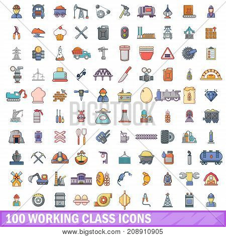 100 working class icons set in cartoon style for any design vector illustration