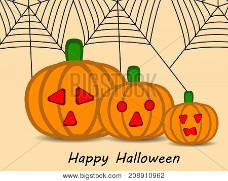 illustration of pumpkin and web with happy Halloween text on the occasion of Halloween Celebration