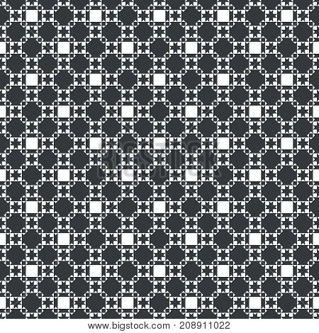 Vector seamless pattern. Classical monochrome texture with squares stars which form regularly repeating tiled checkered surface. Plaid geometric background