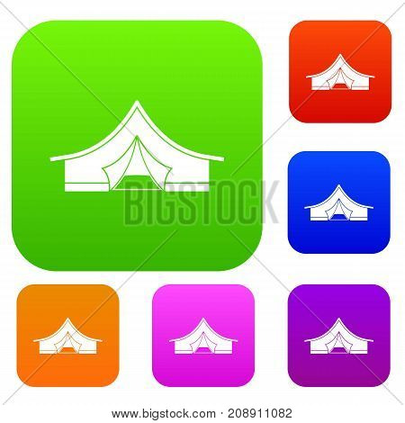 Tourist tent set icon color in flat style isolated on white. Collection sings vector illustration