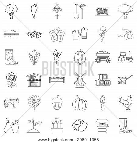 Seed icons set. Outline style of 36 seed vector icons for web isolated on white background