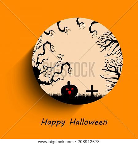illustration of tree, pumpkin and cross with happy Halloween on the occasion of Halloween Celebration