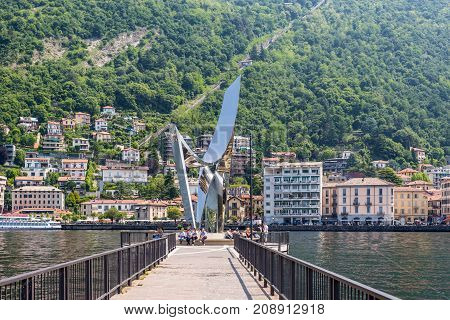 Como Italy - May 27 2016: Life Electric is a contemporary sculpture dedicated to the physicist Alessandro Volta (1745-1827). It was designed by Daniel Libeskind and was a gift to Como town.
