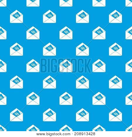 Envelope with percentage pattern repeat seamless in blue color for any design. Vector geometric illustration