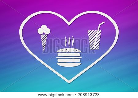 Paper heart with burger beverage and icecream inside on colorful background fastfood concept. Abstract food conceptual image