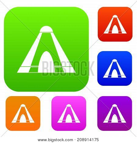 Tepee set icon color in flat style isolated on white. Collection sings vector illustration