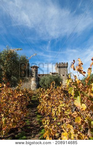 European style castle turrets surrounded by olive trees and grape vines with autumn leaves and a blue sky with white wispy clouds.