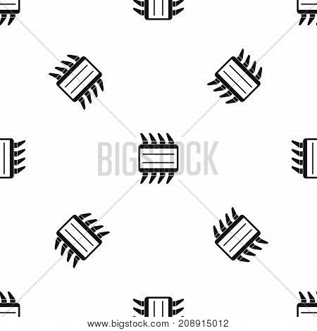 CPU pattern repeat seamless in black color for any design. Vector geometric illustration